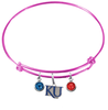 Kansas Jayhawks Style 2 NCAA Pink Expandable Wire Bangle Charm Bracelet