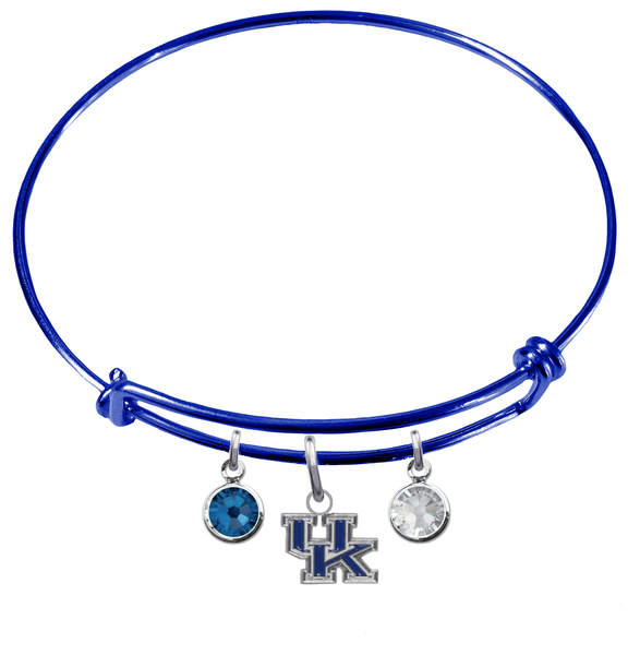 Kentucky Wildcats NCAA Blue Expandable Wire Bangle Charm Bracelet