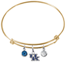 Kentucky Wildcats NCAA Gold Expandable Wire Bangle Charm Bracelet