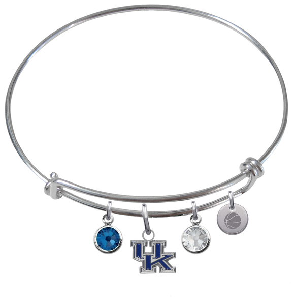 Kentucky Wildcats Basketball Expandable Wire Bangle Charm Bracelet