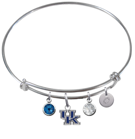 Kentucky Wildcats Football Expandable Wire Bangle Charm Bracelet