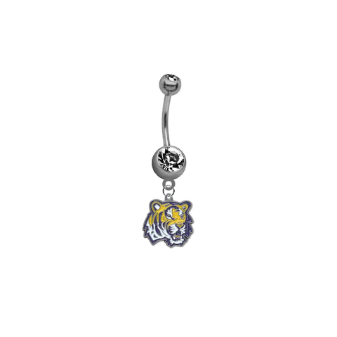 LSU Tigers Breast Cancer Awareness Belly Button Navel Ring