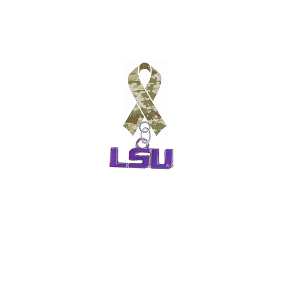 LSU Tigers Style 2 Salute to Service Military Appreciation Camo Ribbon Lapel Pin