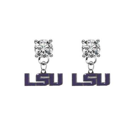 LSU Tigers 2 CLEAR Swarovski Crystal Stud Rhinestone Earrings