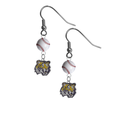 LSU Tigers NCAA Baseball Dangle Earrings