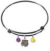 LSU Tigers NCAA Black Expandable Wire Bangle Charm Bracelet