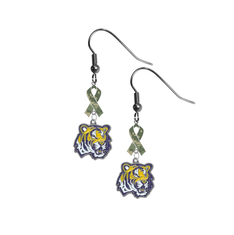 LSU Tigers Salute to Service Camouflage Camo Ribbon Dangle Earrings