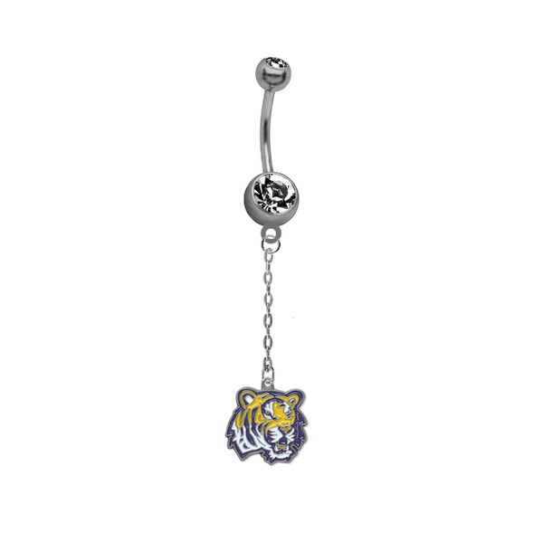 LSU Tigers Dangle Chain Belly Button Navel Ring