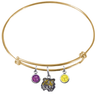 LSU Tigers NCAA Gold Expandable Wire Bangle Charm Bracelet