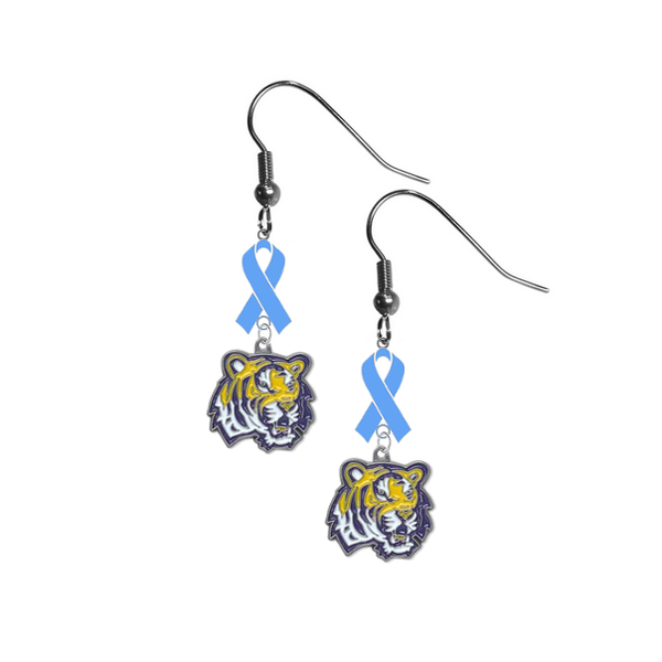 LSU Tigers Prostate Cancer Awareness Light Blue Ribbon Dangle Earrings