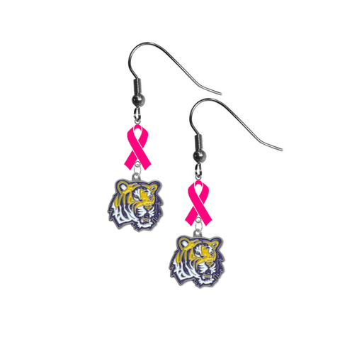 LSU Tigers Breast Cancer Awareness Hot Pink Ribbon Dangle Earrings