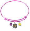 LSU Tigers NCAA Pink Expandable Wire Bangle Charm Bracelet