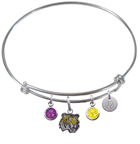 LSU Tigers Baseball Expandable Wire Bangle Charm Bracelet