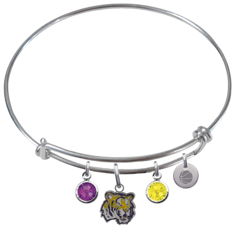 LSU Tigers Basketball Expandable Wire Bangle Charm Bracelet