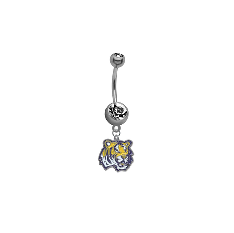 LSU Tigers SILVER College Belly Button Navel Ring