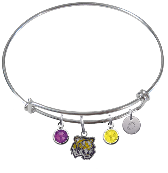 LSU Tigers Football Expandable Wire Bangle Charm Bracelet