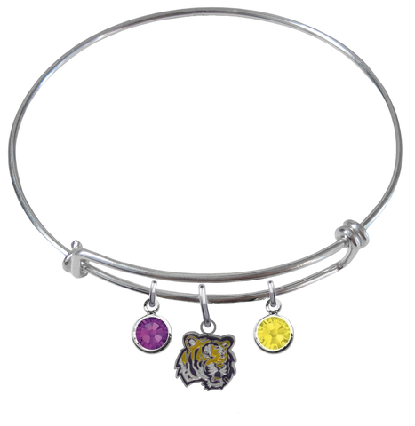 LSU Tigers NCAA Expandable Wire Bangle Charm Bracelet