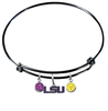 LSU Tigers Style 2 NCAA Black Expandable Wire Bangle Charm Bracelet