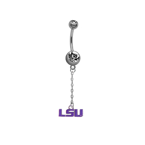 LSU Tigers Style 2 Dangle Chain Belly Button Navel Ring