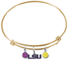 LSU Tigers Style 2 NCAA Gold Expandable Wire Bangle Charm Bracelet