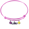 LSU Tigers Style 2 NCAA Pink Expandable Wire Bangle Charm Bracelet