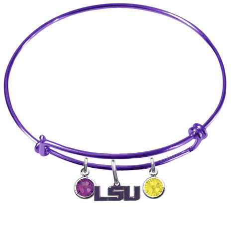 LSU Tigers Style 2 NCAA Purple Expandable Wire Bangle Charm Bracelet