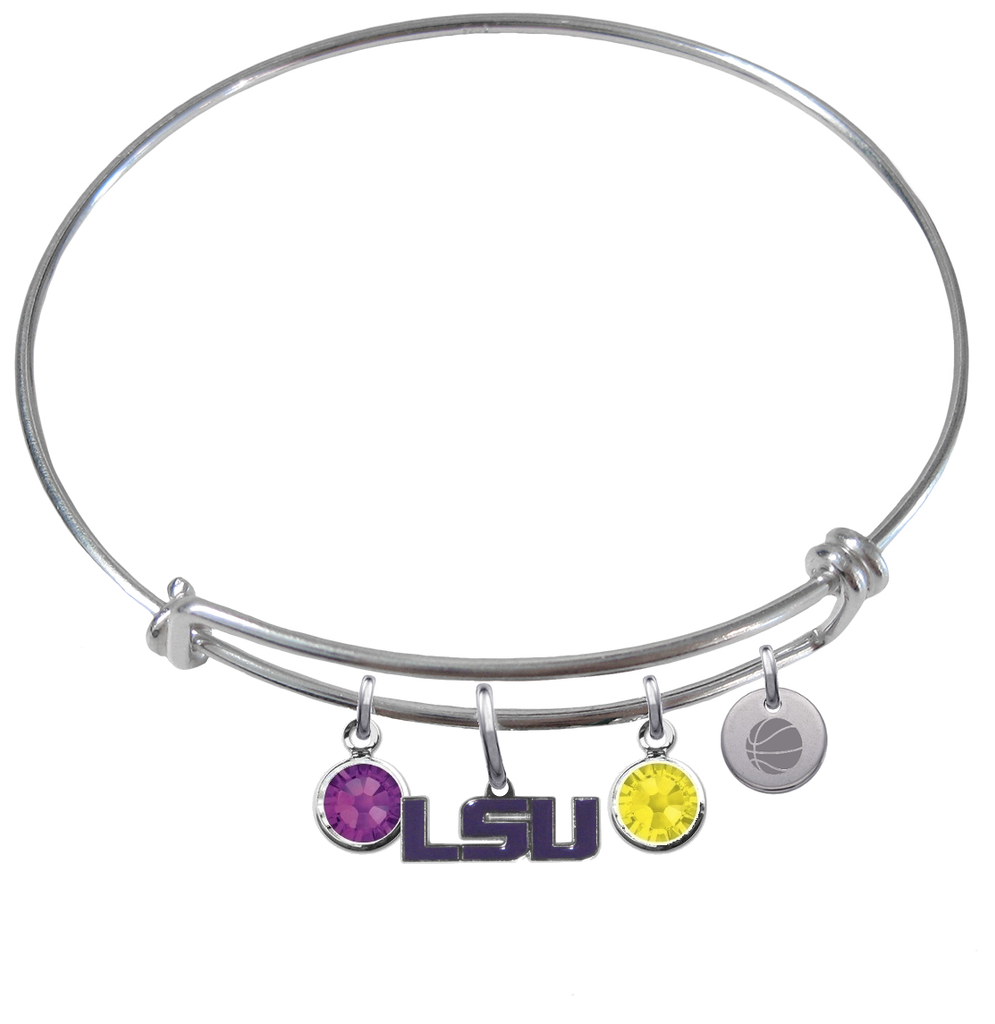 LSU Tigers Style 2 Basketball Expandable Wire Bangle Charm Bracelet