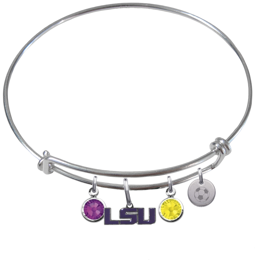 LSU Tigers Style 2 Soccer Expandable Wire Bangle Charm Bracelet