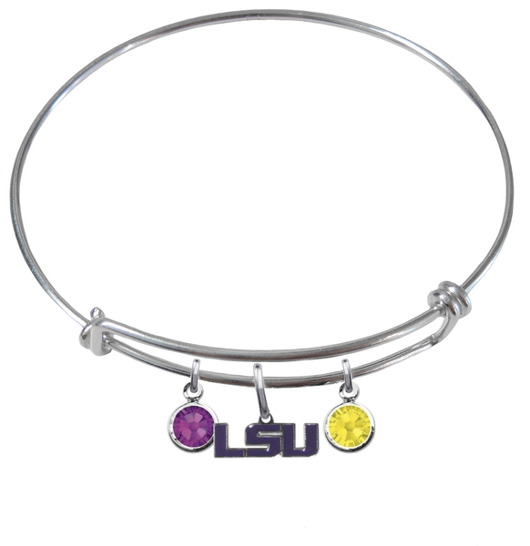 LSU Tigers Style 2 NCAA Expandable Wire Bangle Charm Bracelet