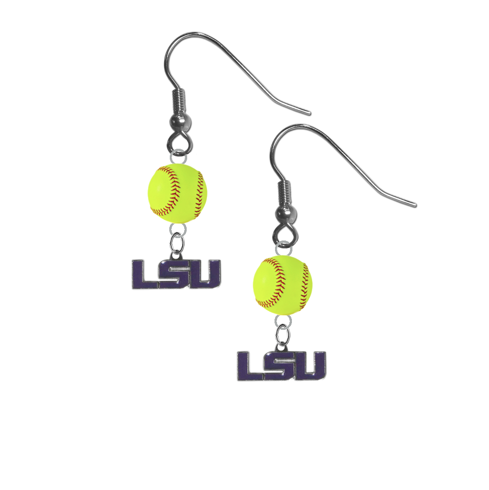 LSU Tigers Style 2 NCAA Fastpitch Softball Dangle Earrings