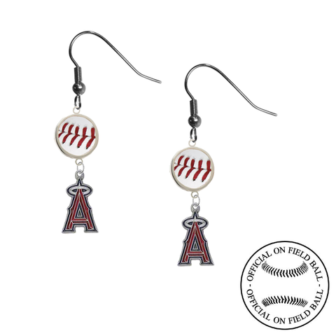 Anaheim Angels MLB Authentic Rawlings On Field Leather Baseball Dangle Earrings
