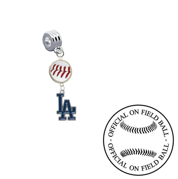 Los Angeles Dodgers On Field Baseball Universal European Bracelet Charm (Pandora Compatible)