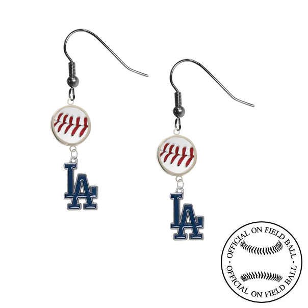 Los Angeles Dodgers MLB Authentic Rawlings On Field Leather Baseball Dangle Earrings