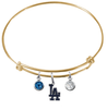 Los Angeles Dodgers Gold MLB Expandable Wire Bangle Charm Bracelet