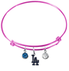 Los Angeles Dodgers Pink MLB Expandable Wire Bangle Charm Bracelet