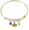 Los Angeles Lakers GOLD Color Edition Expandable Wire Bangle Charm Bracelet
