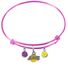 Los Angeles Lakers PINK Color Edition Expandable Wire Bangle Charm Bracelet