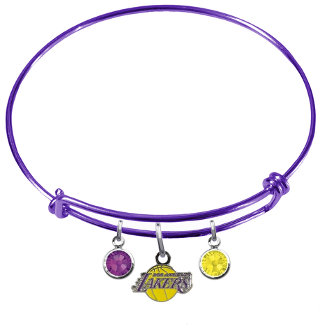 Los Angeles Lakers PURPLE Color Edition Expandable Wire Bangle Charm Bracelet