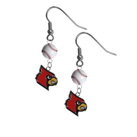 Louisville Cardinals NCAA Baseball Dangle Earrings