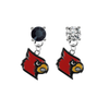 Louisville Cardinals BLACK & CLEAR Swarovski Crystal Stud Rhinestone Earrings