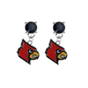 Louisville Cardinals BLACK Swarovski Crystal Stud Rhinestone Earrings