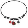 Louisville Cardinals NCAA Black Expandable Wire Bangle Charm Bracelet