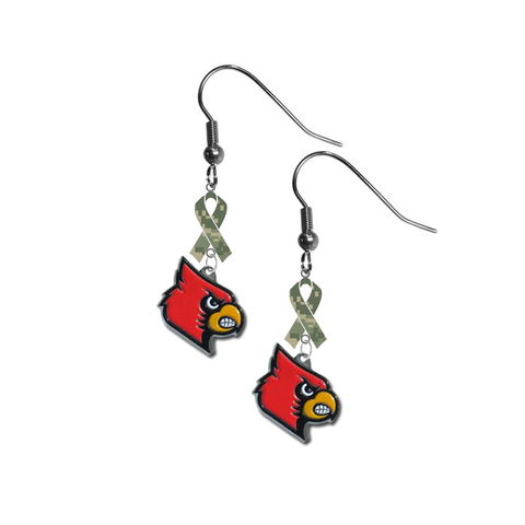 Louisville Cardinals Salute to Service Camouflage Camo Ribbon Dangle Earrings