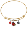 Louisville Cardinals NCAA Gold Expandable Wire Bangle Charm Bracelet