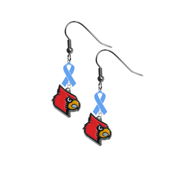 Louisville Cardinals Prostate Cancer Awareness Light Blue Ribbon Dangle Earrings