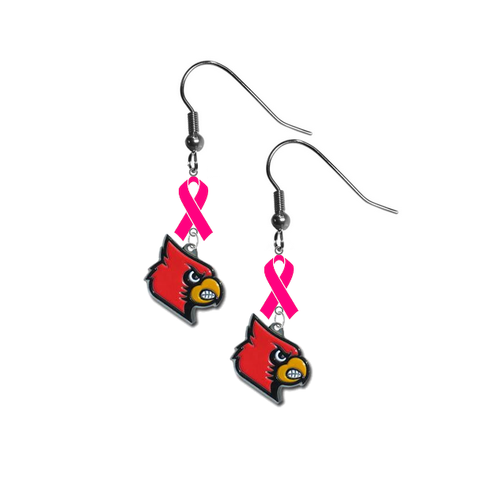 Louisville Cardinals Breast Cancer Awareness Hot Pink Ribbon Dangle Earrings