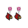 Louisville Cardinals PINK Swarovski Crystal Stud Rhinestone Earrings
