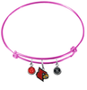 Louisville Cardinals NCAA Pink Expandable Wire Bangle Charm Bracelet