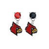 Louisville Cardinals RED & BLACK Swarovski Crystal Stud Rhinestone Earrings