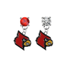 Louisville Cardinals RED & CLEAR Swarovski Crystal Stud Rhinestone Earrings